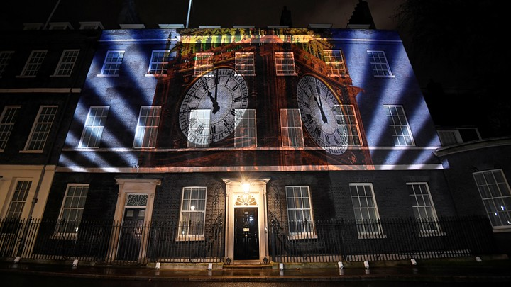 A image of Big Ben is illuminated at 10 Downing Street.