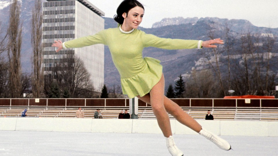Peggy Fleming practices on an outside rink in February 1968 in Grenoble