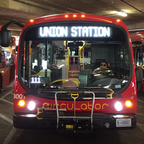 An electric bus awaiting passengers in Washington D.C.'s Union Station bus deck.