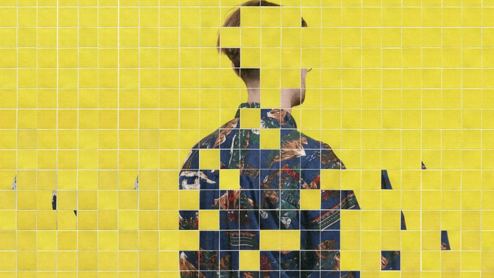 A tiled image of a person with their back turned and head obscured