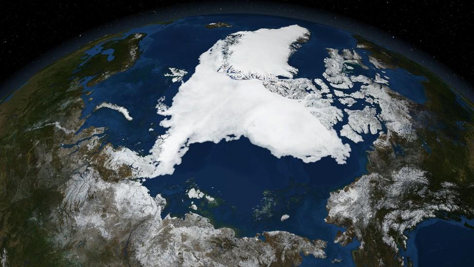A satellite image of Arctic sea ice