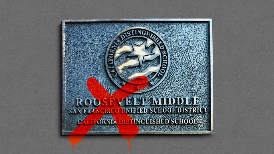 """An illustration of a sign for Roosevelt Middle School with """"Roosevelt"""" crossed out"""