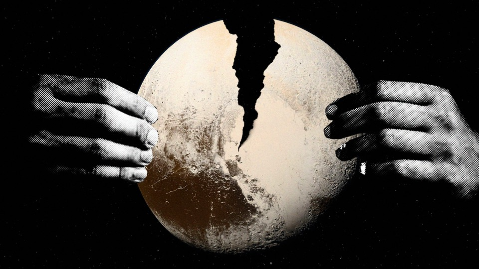 An illustration of Pluto being split in two by a pair of hands suspended in space