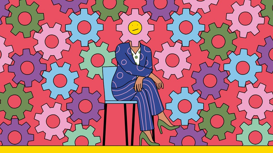 An illustration of a woman in high heels and a colorful suit; her head is overlaid with a giant gear with a frowny face on it, and the gear is meshed with a large system of other gears