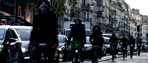 photo: bicyclists in Paris during a transit strike in December.