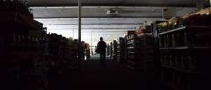 a photo of a darkened CVS Pharmacy in downtown Sonoma, California.