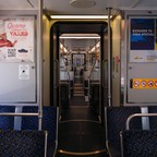 photo: Empty seats are seen on a Dallas Area Rapid Transit (DART) train in downtown Dallas in April.