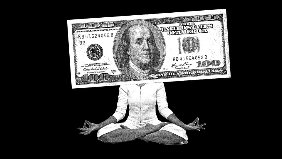 An illustration depicting someone meditating with a $100 bill over their face