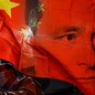 An illustration of legal scholar Carl Schmitt's face imposed on a Chinese flag