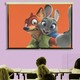 """A frame from Disney's """"Zootopia"""" is superimposed on a projector screen in a classroom."""