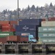 Cargo containers stacked at the Port of Seattle in April