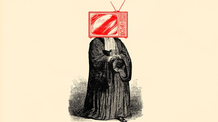 An illustration of a judge with a TV for a head