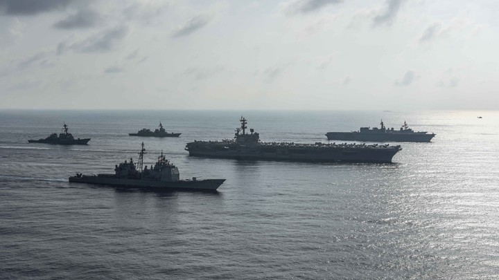 The Ronald Reagan Strike Group conducts a photo exercise in the South China Sea.