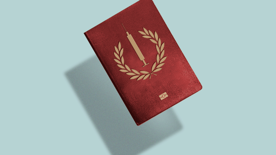 A passport emblazoned with a golden syringe