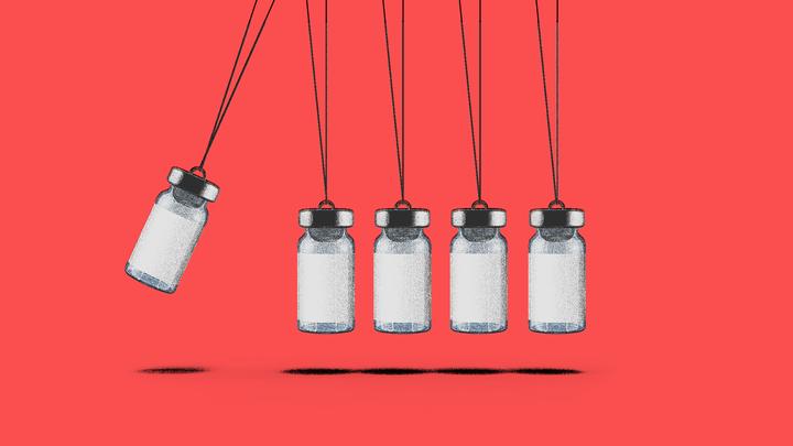 Newton's cradle with vaccine vials