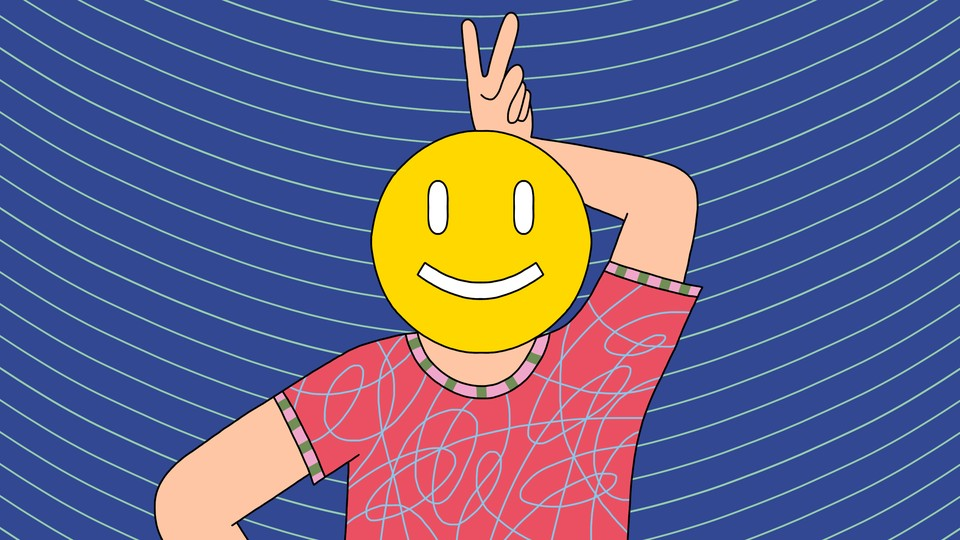 A person holds up bunny ears behind their own face, on which a smiley face is superimposed.