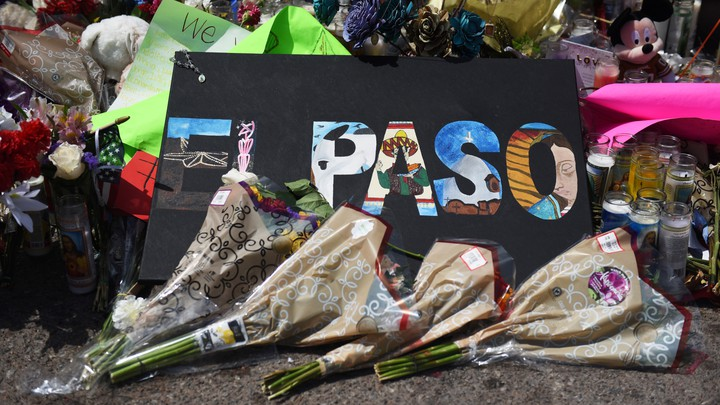 A memorial commemorating the shooting in El Paso, Texas, outside of the Walmart