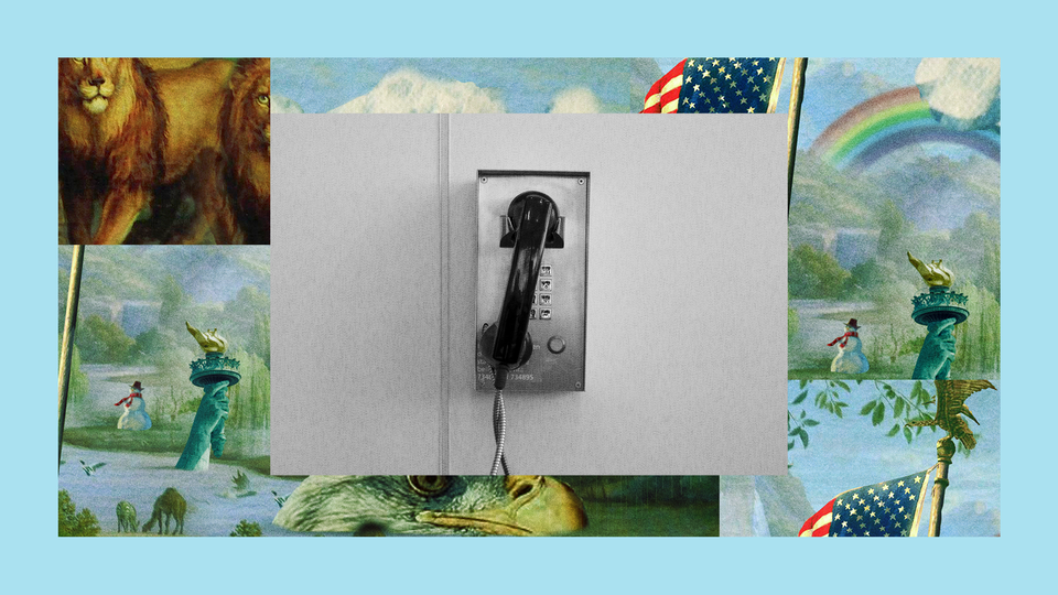 A single payphone hangs on a wall. The image is set into a frame featuring The Experiment's show art.