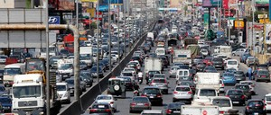 Traffic fills a highway east of Beirut.