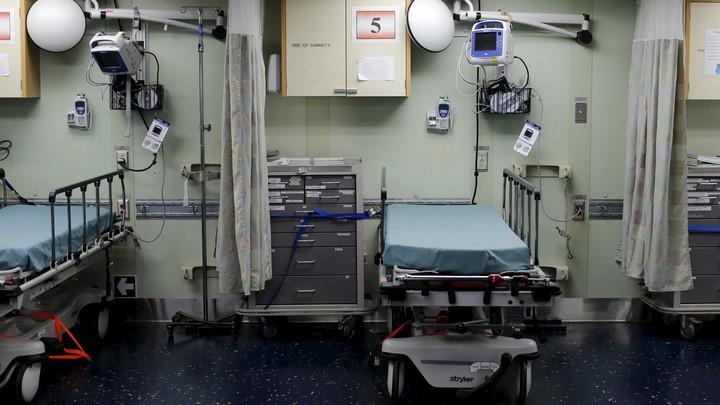 Two adjacent hospital beds