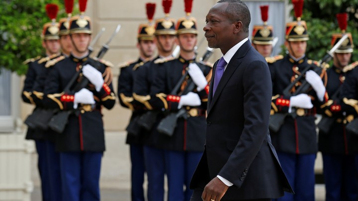 Benin's president Patrice Talon meets the French president at the Elysee Palace in Paris in 2016.