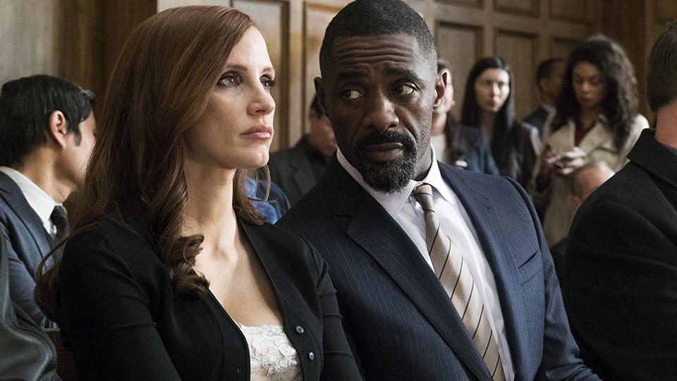 Jessica Chastain and Idris Elba in a still from 'Molly's Game'