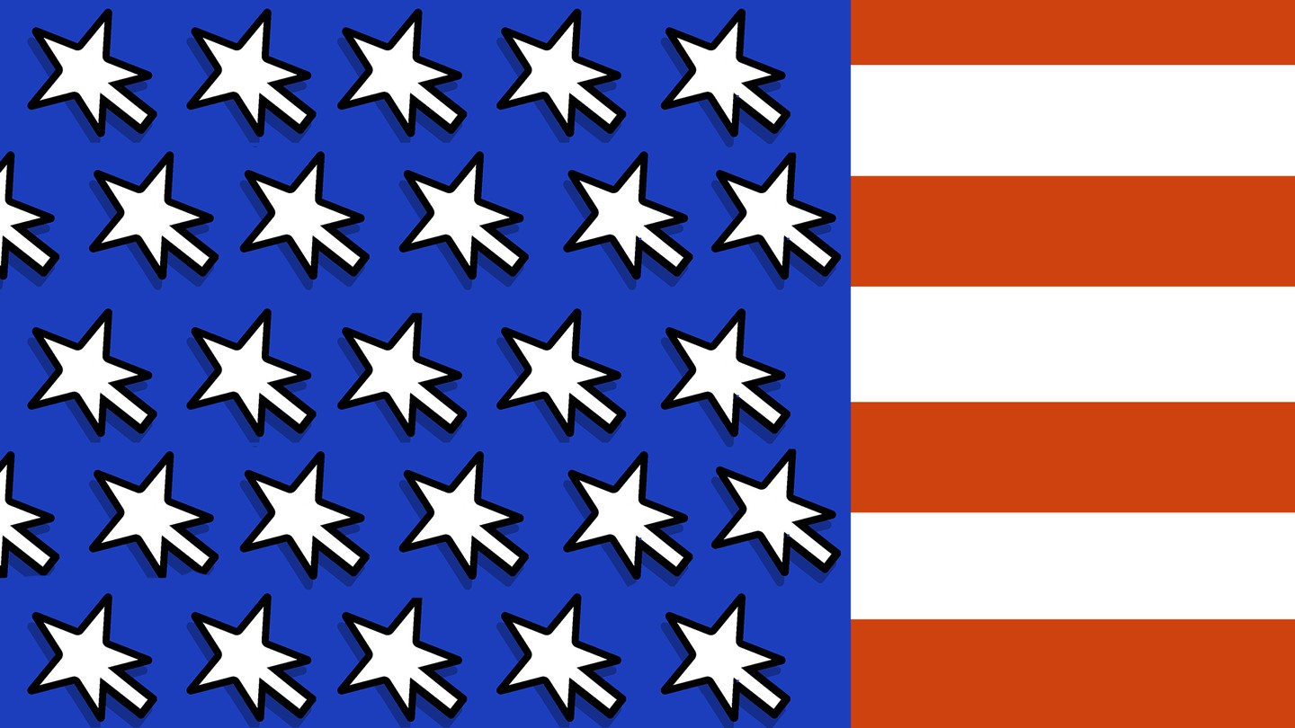 An American flag with stars as mouse cursors