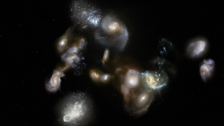 Artist's impression of luminous galaxies tightly packed into one region of space in the early universe