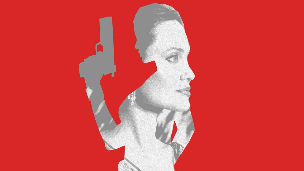 a photo of angelina jolie set within a silhouette of her as lara croft, against a red background