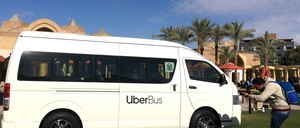 A photo of an Uber Bus in Cairo, the company's new microtransit program.