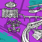 An illustration of Seattle sights, including KEXP, the public library, and the Monorail