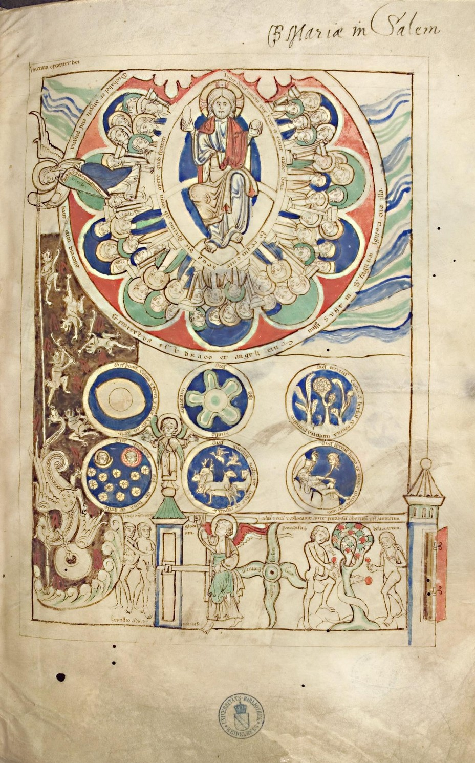 An illuminated page from the Scivias, a 12th-century book written by nun Hildegard of Bingen and painted by two anonymous artists. The blue pigment comes from Lapis Lazuli. Heidelberg University Library, Heidelberg, Germany.