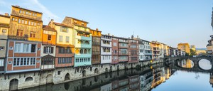 Houses along the river in Castres, France.