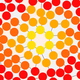 A network of red, orange, and yellow circles