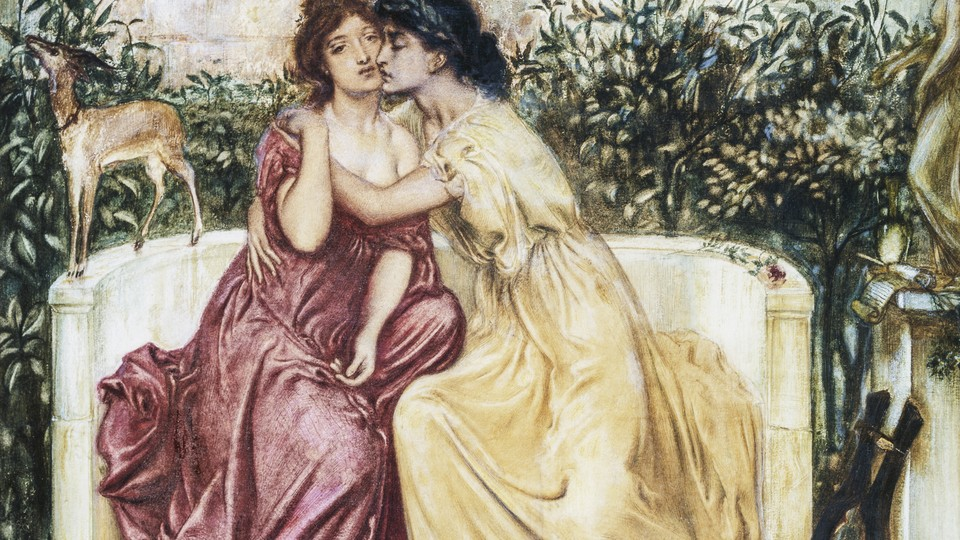 A painting of two women cuddling on a settee