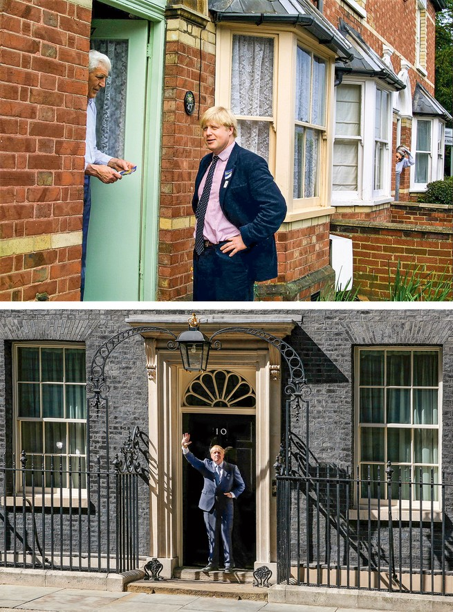 2 photos: Johnson campaigning for Parliament; Johnson waving as prime minister