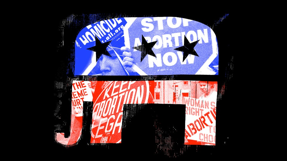 An illustration of the GOP elephant symbol framing a collage of abortion rights and anti-abortion placards.