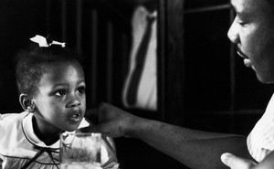 photo of Bernice A. King as a young child with her father