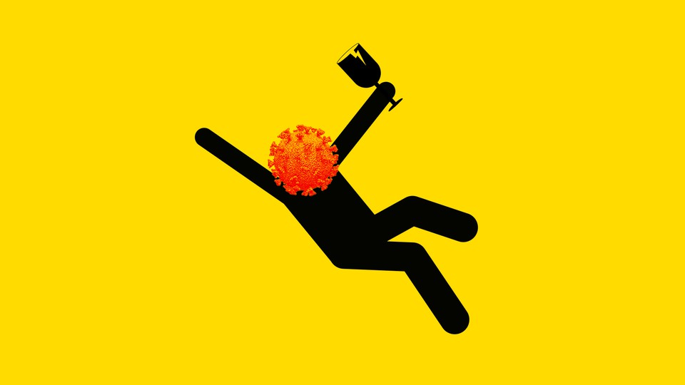 Stick figure with virus for head falling while holding wine glass