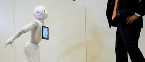 SoftBank's emotion-reading robot Pepper during a tech demonstration.