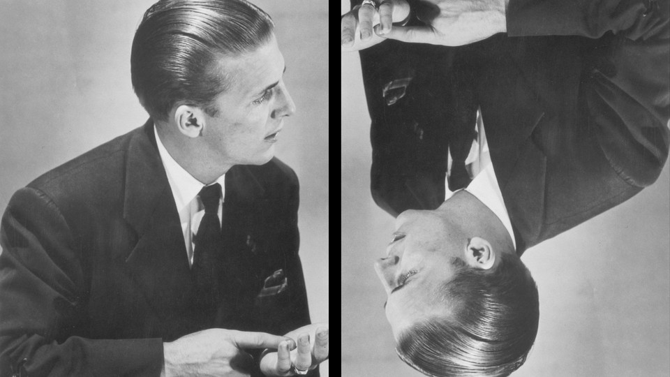 A vintage photo illustration showing a man in a suit facing off against an upside-down version of himself