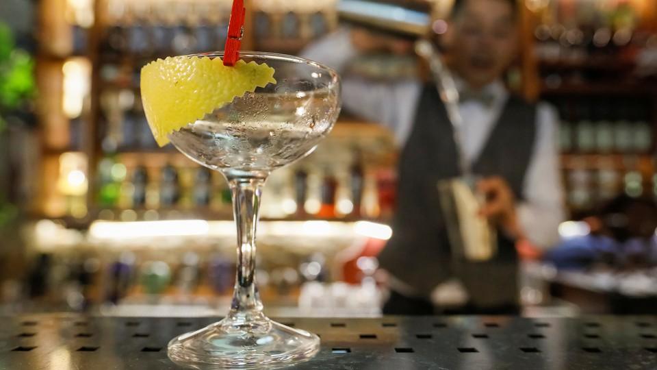 A bartender prepares a cocktail in Kazakhstan.