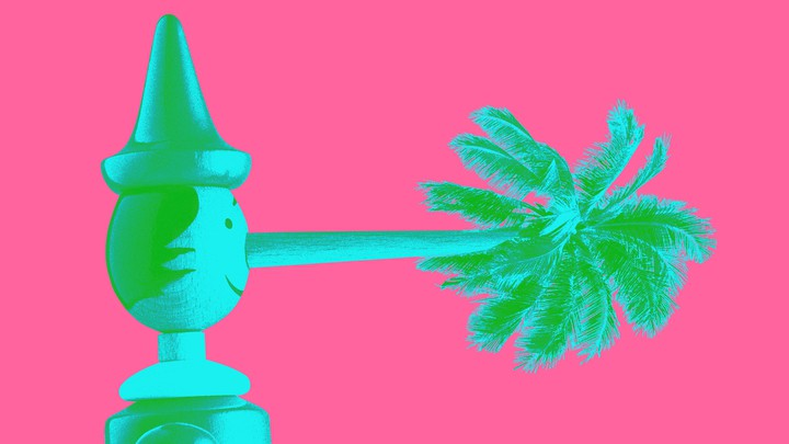 An illustration of Pinocchio with a palm tree as a nose