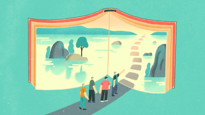 An illustration of a group of men walking onto a path leading into an open book.