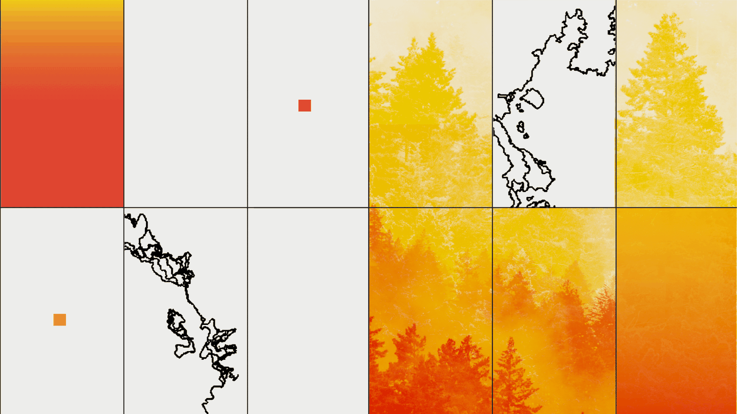 Illustration with grid of black-outlined fire areas and orange-and-yellow photos of treeline and smoke