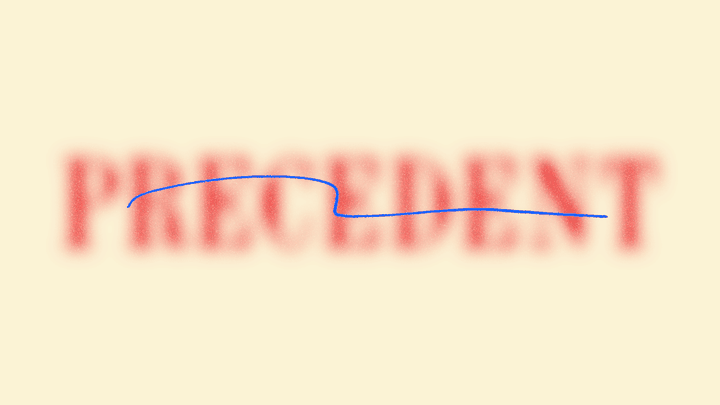 "An illustration of the word ""precedent"" with a strikethrough line"