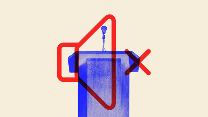An illustration of a podium overlaid with a volume-mute symbol