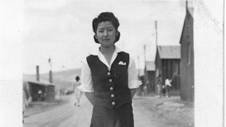 The author's grandmother, shown here at Heart Mountain internment camp, was able to make the most of the sewing classes she was offered.