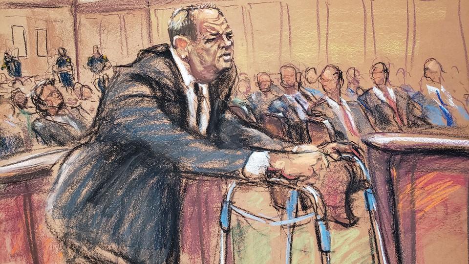 Drawing of Harvey Weinstein in court.