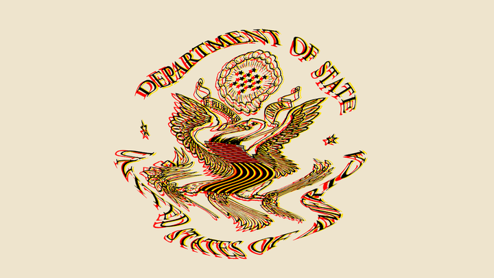 A distorted illustration of the State Department seal